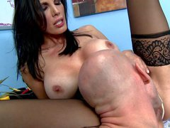 Adorable black haired milf Shay Sights with huge firm melons
