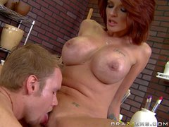 Adorable mature redhead milf Joslyn James with stunning fake tits
