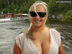 Huge tits blonde amateur takes money from a stranger then had sex in public